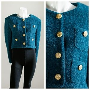 Deep Teal Bouclé Cropped Blazer w Gold Buttons